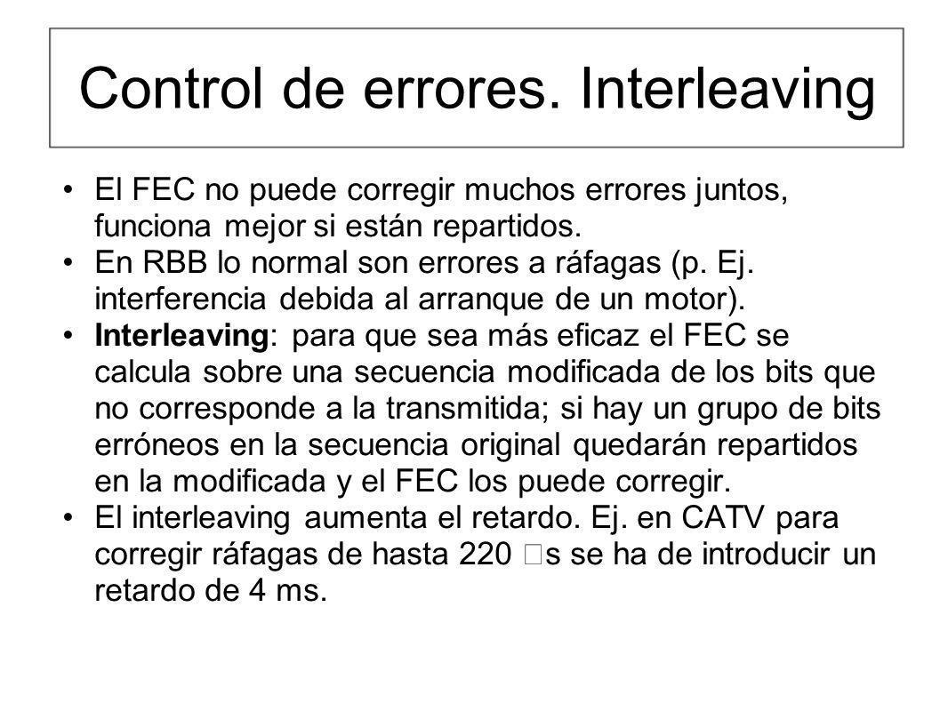 Control de errores. Interleaving El FEC no puede corregir muchos errores juntos, funciona mejor si están repartidos. En RBB lo normal son errores a rá