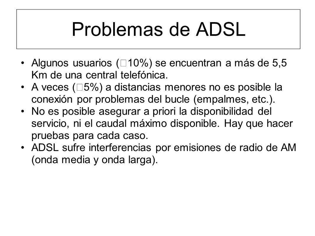 Problemas de ADSL Algunos usuarios ( 10%) se encuentran a más de 5,5 Km de una central telefónica. A veces ( 5%) a distancias menores no es posible la