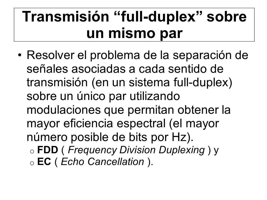 Transmisión full-duplex sobre un mismo par Resolver el problema de la separación de señales asociadas a cada sentido de transmisión (en un sistema ful