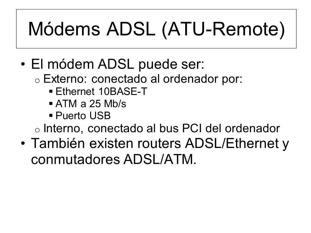 Módems ADSL (ATU-Remote) El módem ADSL puede ser: o Externo: conectado al ordenador por: Ethernet 10BASE-T ATM a 25 Mb/s Puerto USB o Interno, conecta