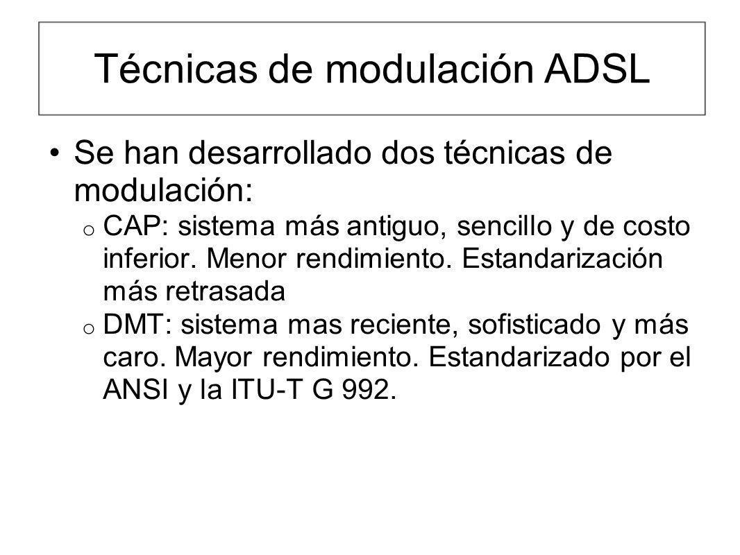 Técnicas de modulación ADSL Se han desarrollado dos técnicas de modulación: o CAP: sistema más antiguo, sencillo y de costo inferior. Menor rendimient