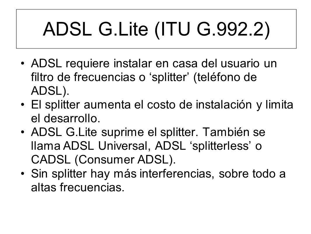 ADSL G.Lite (ITU G.992.2) ADSL requiere instalar en casa del usuario un filtro de frecuencias o splitter (teléfono de ADSL). El splitter aumenta el co