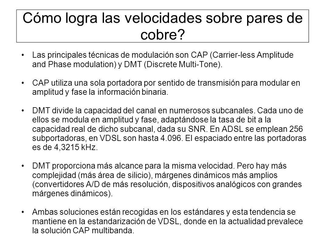 Cómo logra las velocidades sobre pares de cobre? Las principales técnicas de modulación son CAP (Carrier-less Amplitude and Phase modulation) y DMT (D