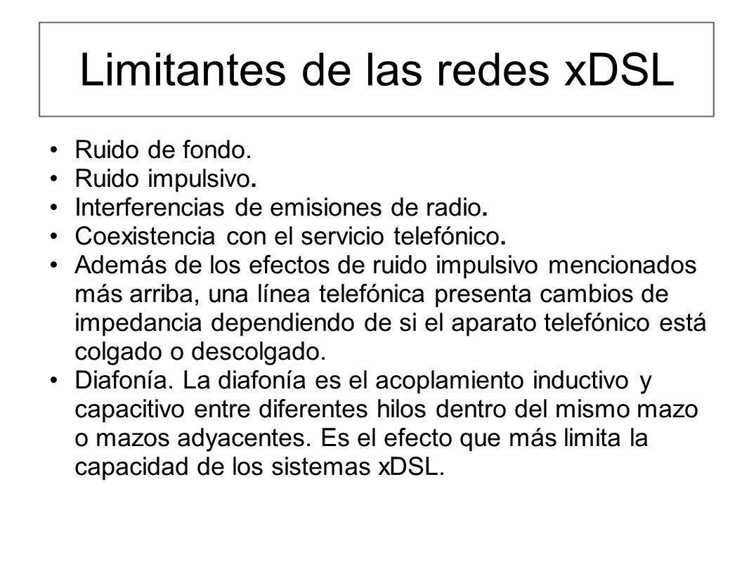 Limitantes de las redes xDSL Ruido de fondo. Ruido impulsivo. Interferencias de emisiones de radio. Coexistencia con el servicio telefónico. Además de