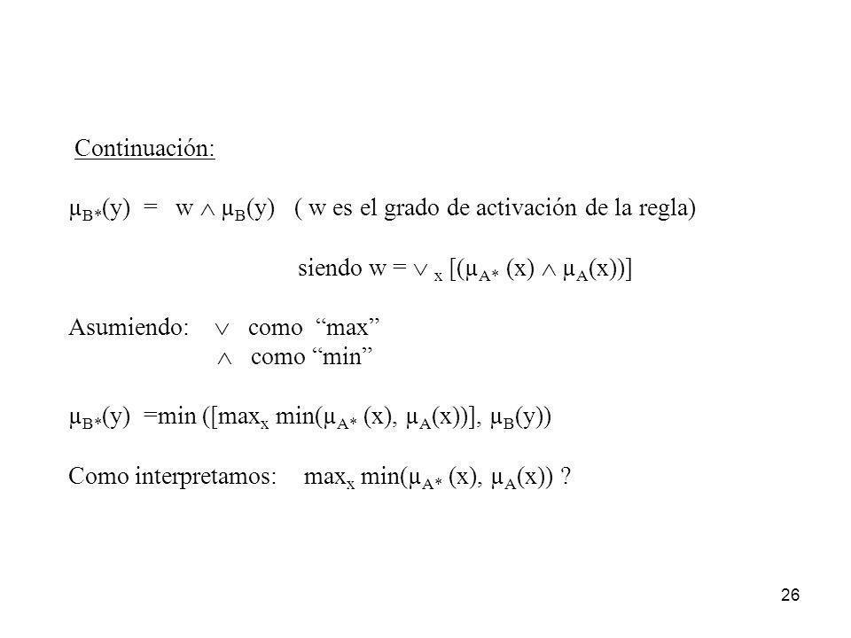 26 Continuación: µ B* (y) = w µ B (y) ( w es el grado de activación de la regla) siendo w = x [(µ A* (x) µ A (x))] Asumiendo: como max como min µ B* (