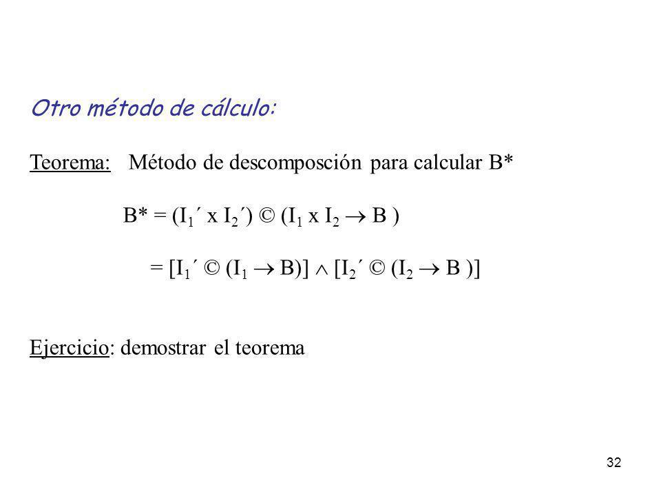 32 Otro método de cálculo: Teorema: Método de descomposción para calcular B* B* = (I 1 ´ x I 2 ´) © (I 1 x I 2 B ) = [I 1 ´ © (I 1 B)] [I 2 ´ © (I 2 B