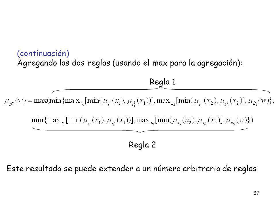 37 (continuación) Agregando las dos reglas (usando el max para la agregación): Regla 1 Regla 2 Este resultado se puede extender a un número arbitrario