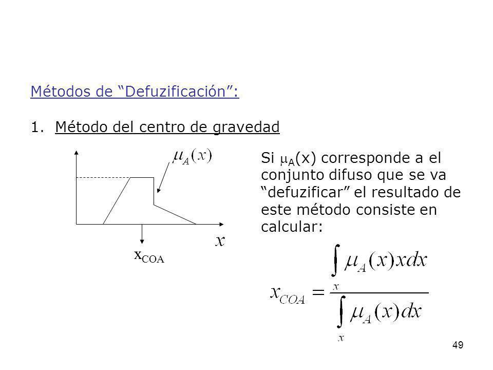 49 Métodos de Defuzificación: 1. Método del centro de gravedad Si A (x) corresponde a el conjunto difuso que se va defuzificar el resultado de este mé