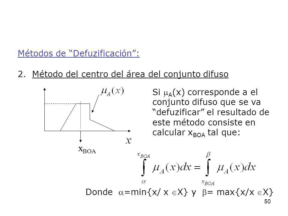 50 Métodos de Defuzificación: 2. Método del centro del área del conjunto difuso Si A (x) corresponde a el conjunto difuso que se va defuzificar el res