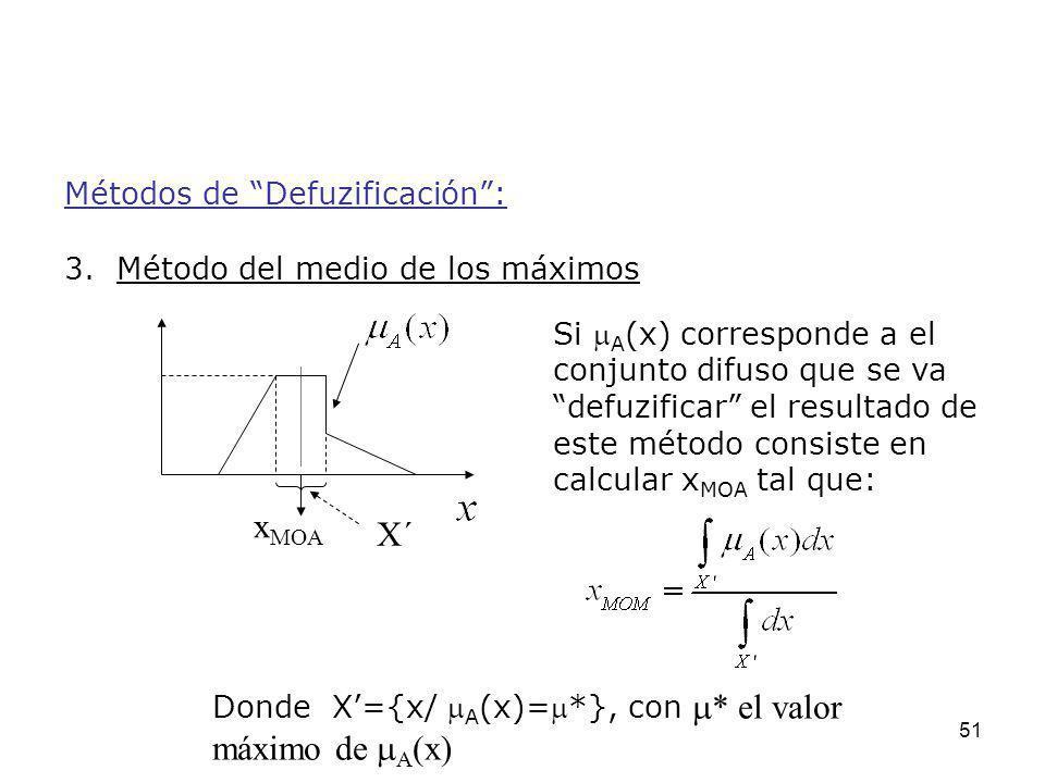 51 Métodos de Defuzificación: 3. Método del medio de los máximos Si A (x) corresponde a el conjunto difuso que se va defuzificar el resultado de este