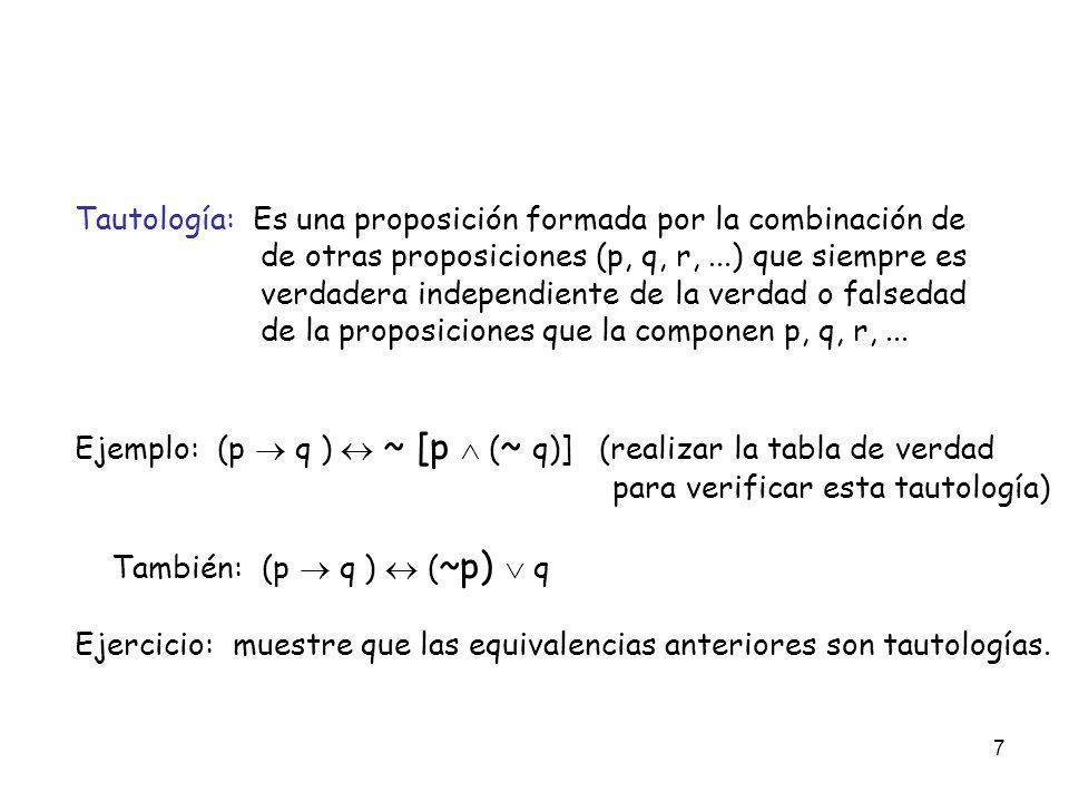 7 Tautología: Es una proposición formada por la combinación de de otras proposiciones (p, q, r,...) que siempre es verdadera independiente de la verda