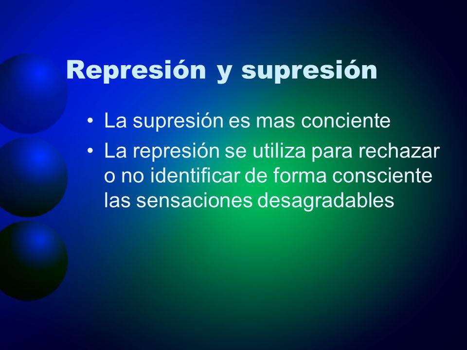 Represión y supresión La supresión es mas conciente La represión se utiliza para rechazar o no identificar de forma consciente las sensaciones desagra