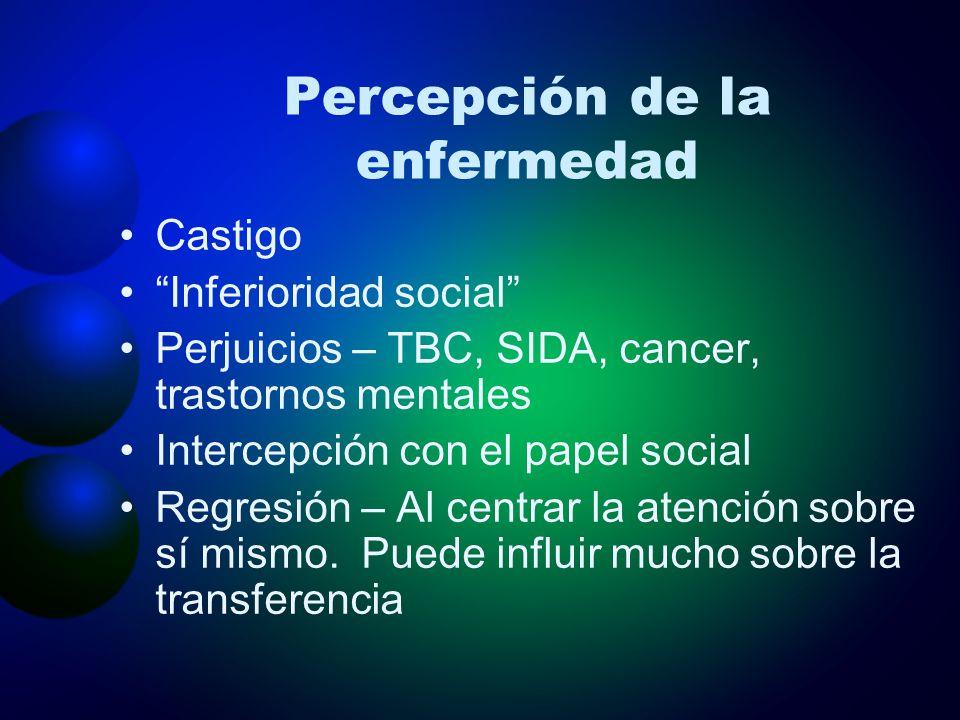 Percepción de la enfermedad Castigo Inferioridad social Perjuicios – TBC, SIDA, cancer, trastornos mentales Intercepción con el papel social Regresión