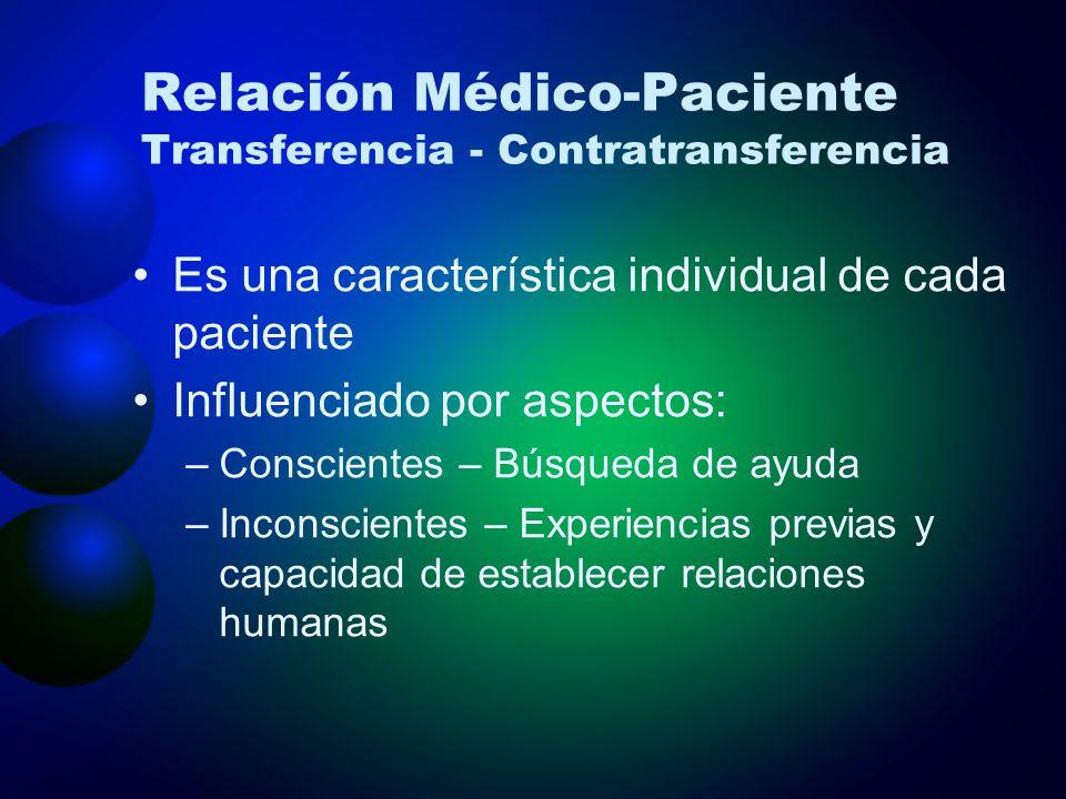 Relación Médico-Paciente Transferencia - Contratransferencia Es una característica individual de cada paciente Influenciado por aspectos: –Conscientes