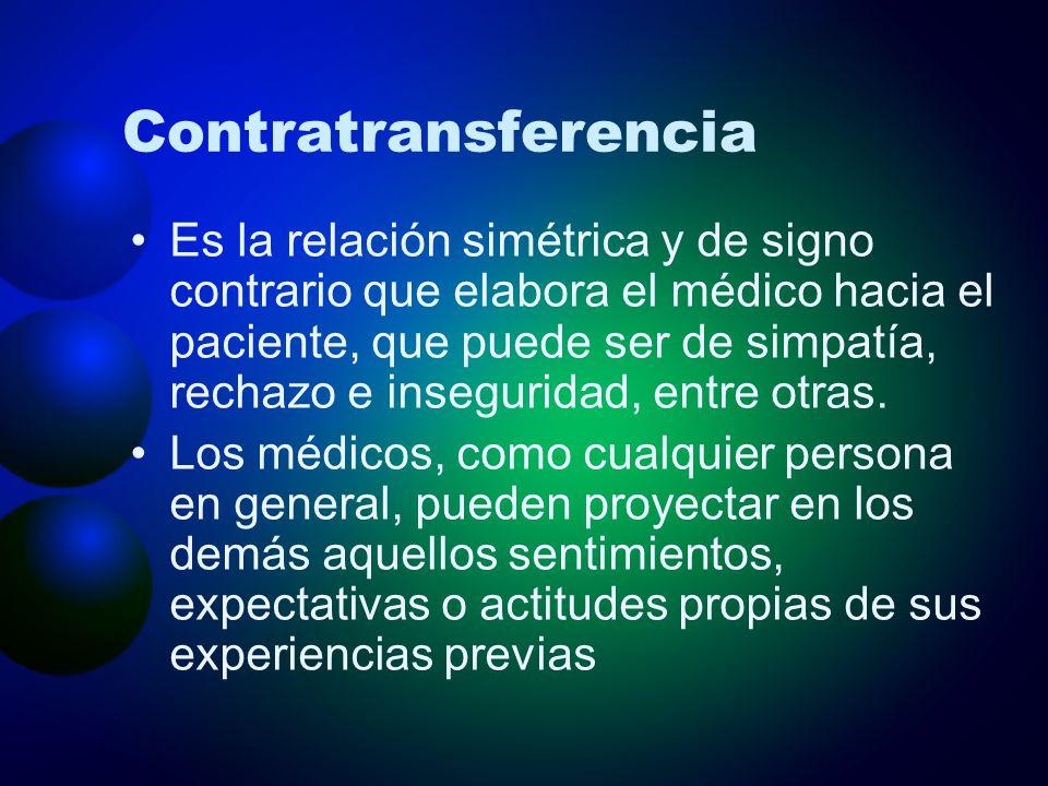 Contratransferencia Es la relación simétrica y de signo contrario que elabora el médico hacia el paciente, que puede ser de simpatía, rechazo e insegu