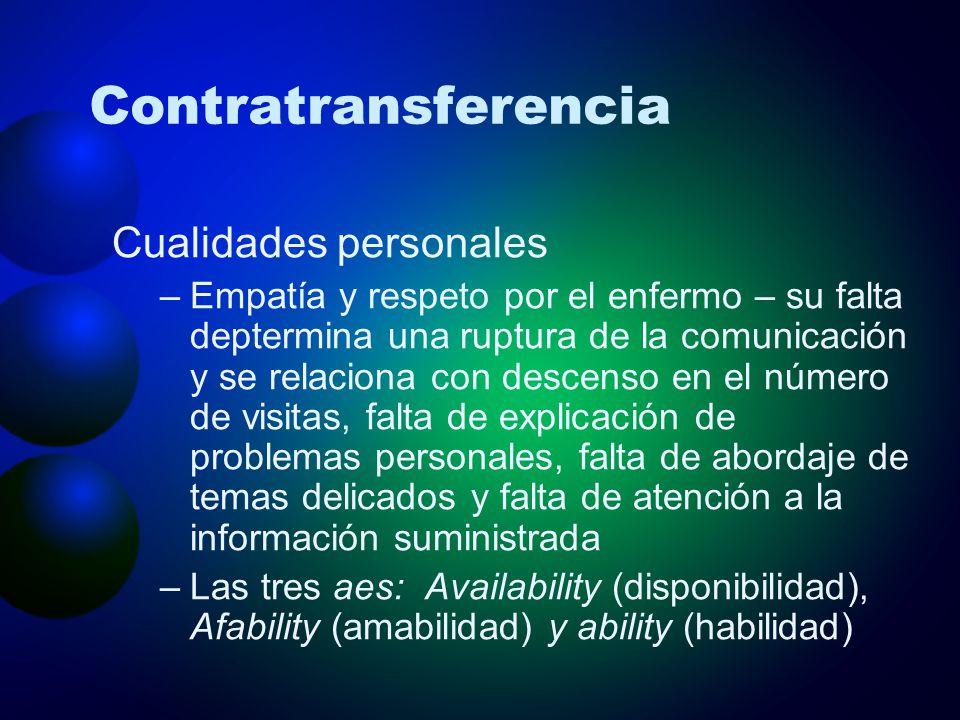 Contratransferencia Cualidades personales –Empatía y respeto por el enfermo – su falta deptermina una ruptura de la comunicación y se relaciona con de