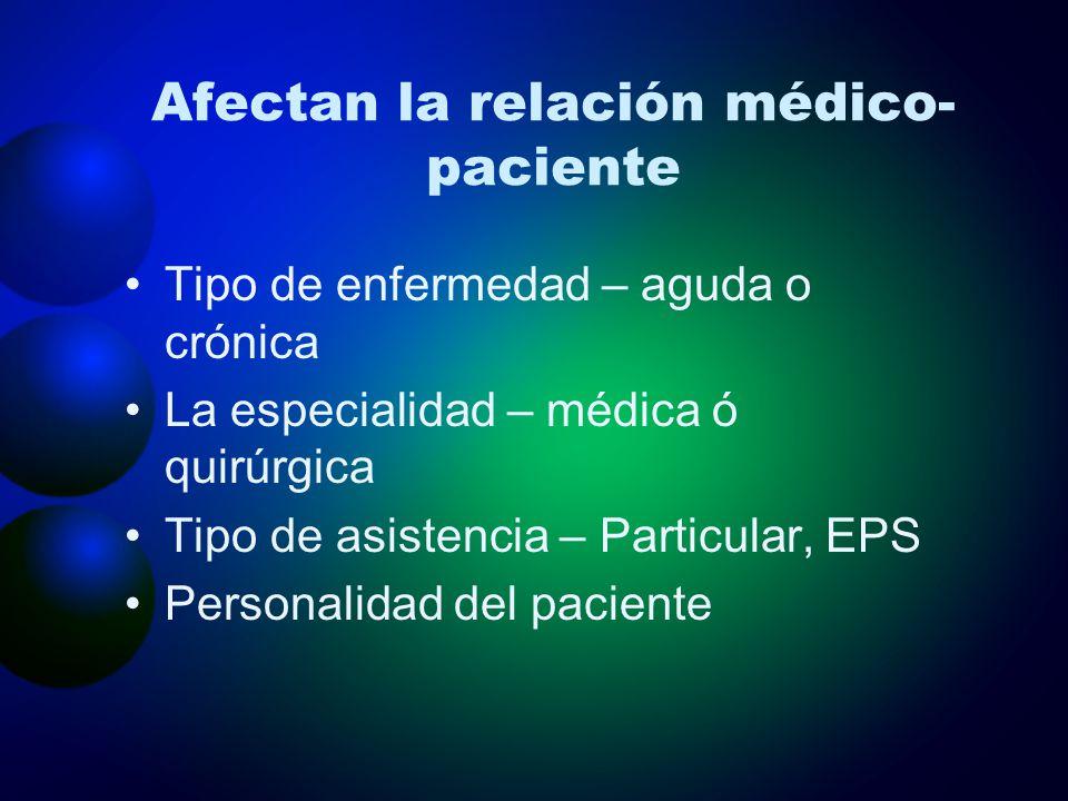 Afectan la relación médico- paciente Tipo de enfermedad – aguda o crónica La especialidad – médica ó quirúrgica Tipo de asistencia – Particular, EPS P