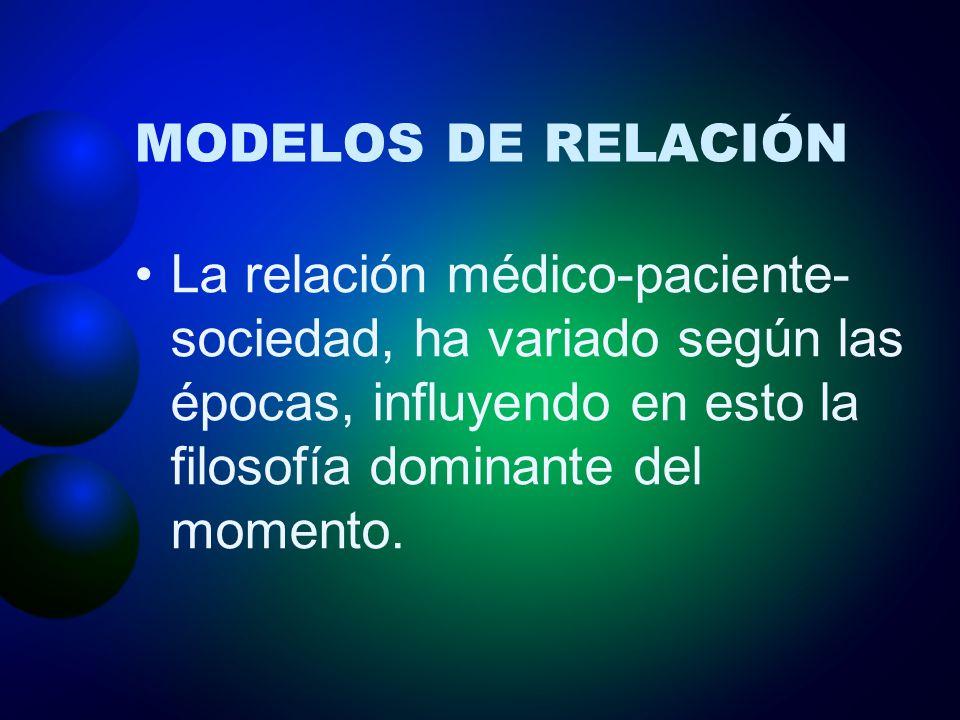 MODELOS DE RELACIÓN La relación médico-paciente- sociedad, ha variado según las épocas, influyendo en esto la filosofía dominante del momento.