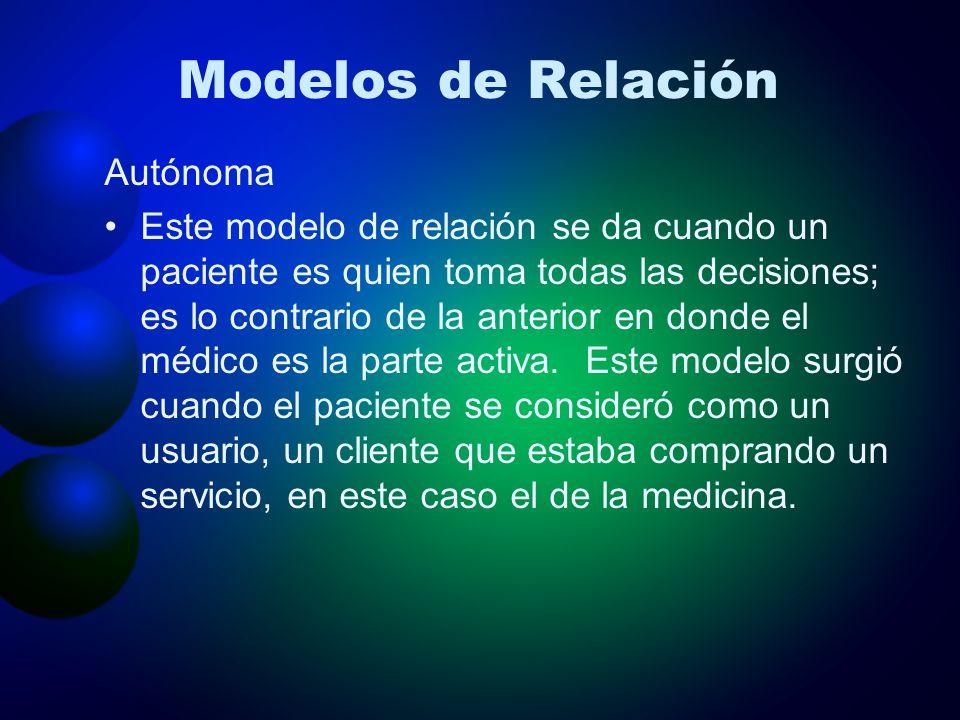 Modelos de Relación Autónoma Este modelo de relación se da cuando un paciente es quien toma todas las decisiones; es lo contrario de la anterior en do