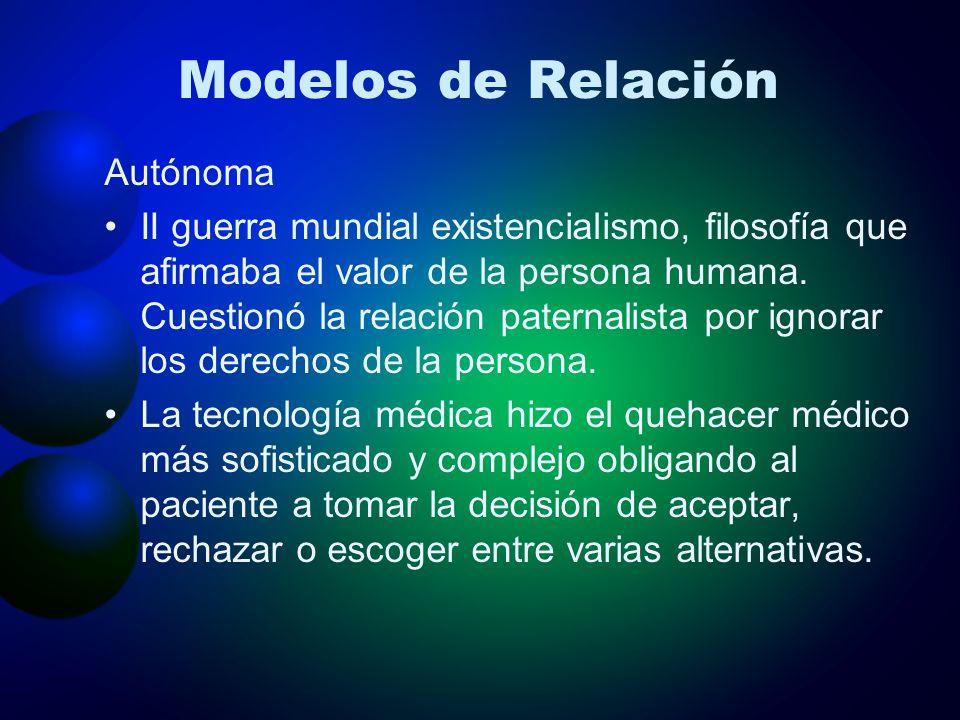 Modelos de Relación Autónoma II guerra mundial existencialismo, filosofía que afirmaba el valor de la persona humana. Cuestionó la relación paternalis