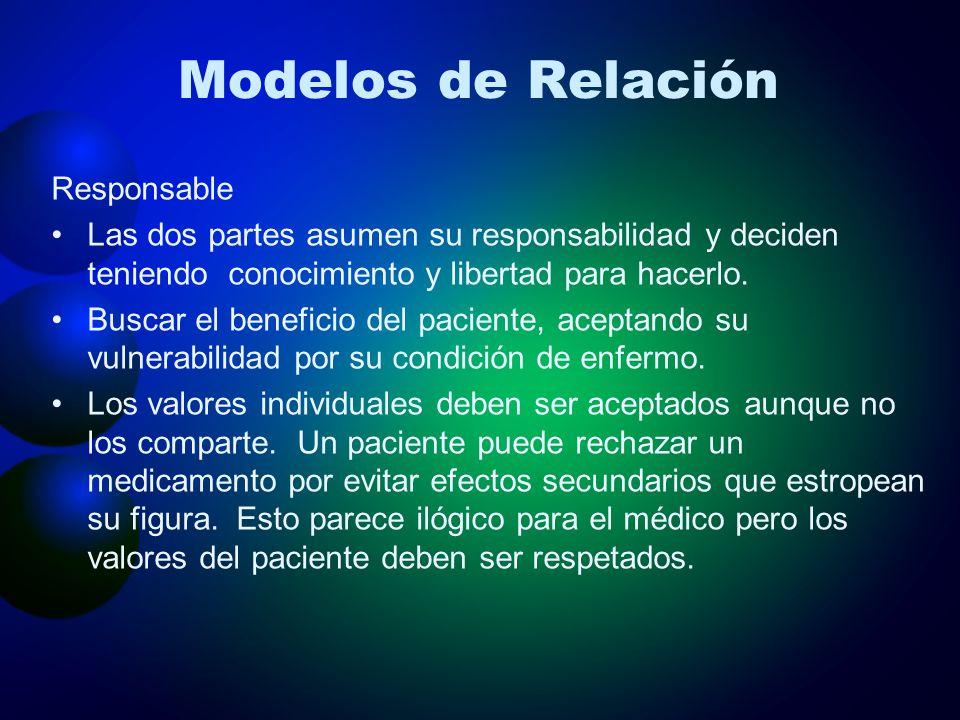 Modelos de Relación Responsable Las dos partes asumen su responsabilidad y deciden teniendo conocimiento y libertad para hacerlo. Buscar el beneficio