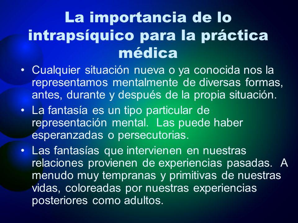La importancia de lo intrapsíquico para la práctica médica Cualquier situación nueva o ya conocida nos la representamos mentalmente de diversas formas