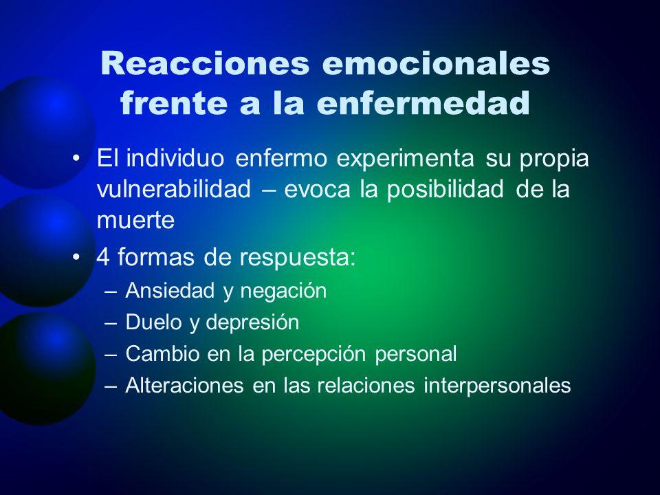 Reacciones emocionales frente a la enfermedad El individuo enfermo experimenta su propia vulnerabilidad – evoca la posibilidad de la muerte 4 formas d