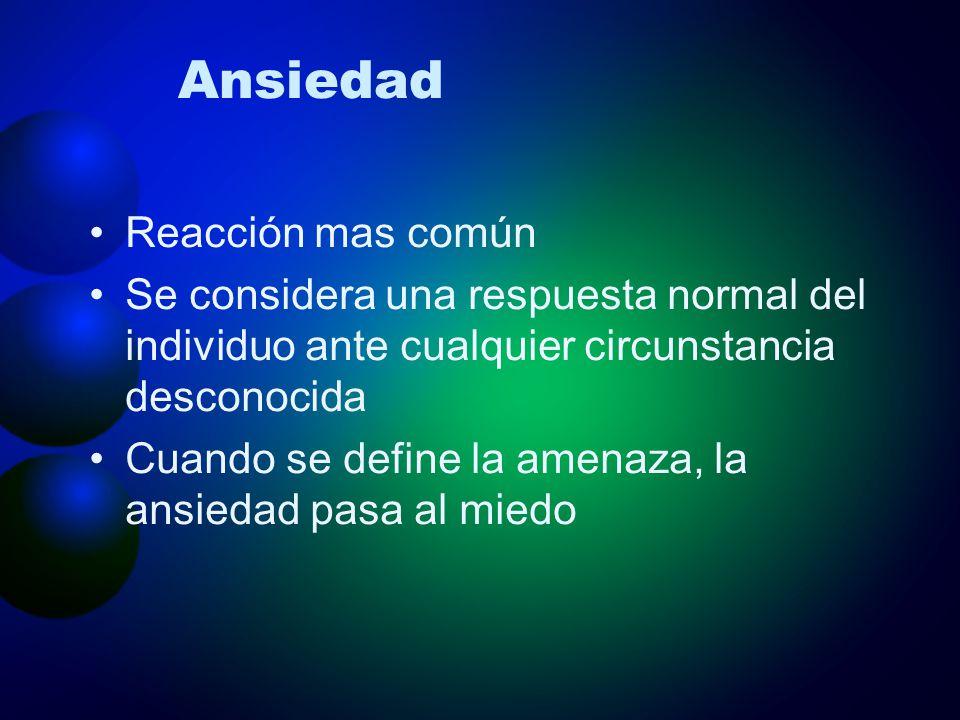 Ansiedad Reacción mas común Se considera una respuesta normal del individuo ante cualquier circunstancia desconocida Cuando se define la amenaza, la a