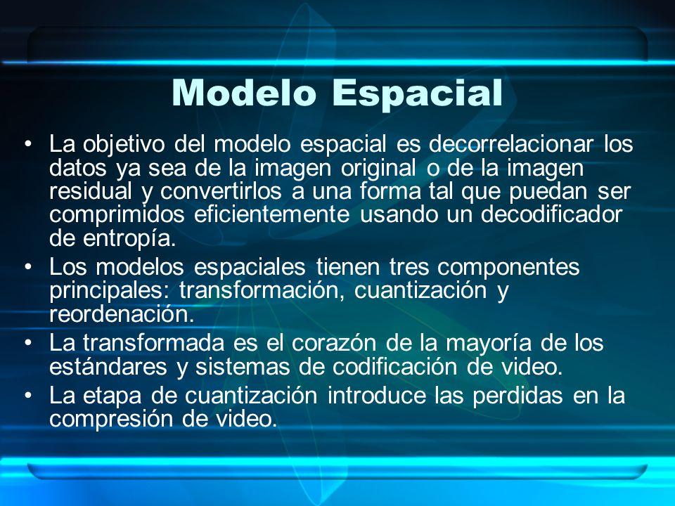 Modelo Espacial La objetivo del modelo espacial es decorrelacionar los datos ya sea de la imagen original o de la imagen residual y convertirlos a una