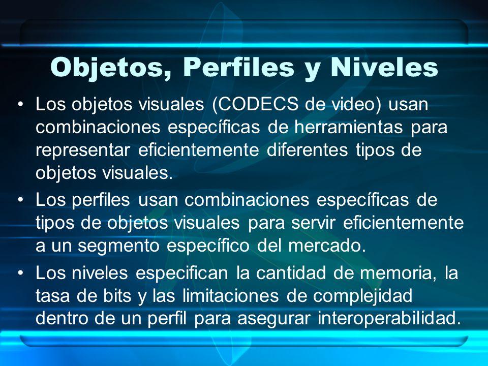 Objetos, Perfiles y Niveles Los objetos visuales (CODECS de video) usan combinaciones específicas de herramientas para representar eficientemente dife