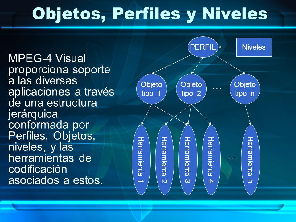 Objetos, Perfiles y Niveles MPEG-4 Visual proporciona soporte a las diversas aplicaciones a través de una estructura jerárquica conformada por Perfile