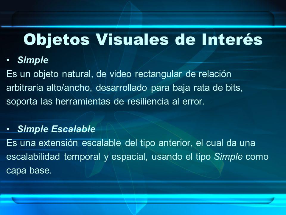 Objetos Visuales de Interés Simple Es un objeto natural, de video rectangular de relación arbitraria alto/ancho, desarrollado para baja rata de bits,