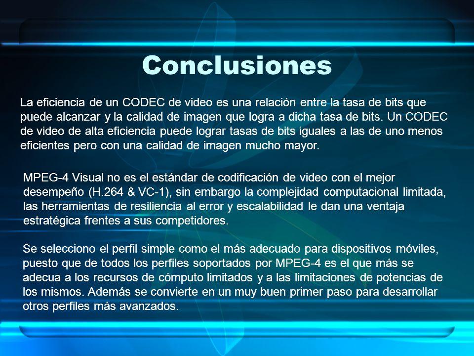Conclusiones La eficiencia de un CODEC de video es una relación entre la tasa de bits que puede alcanzar y la calidad de imagen que logra a dicha tasa