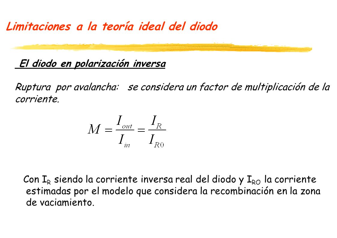 Limitaciones a la teoría ideal del diodo El diodo en polarización inversa Ruptura por avalancha: se considera un factor de multiplicación de la corrie