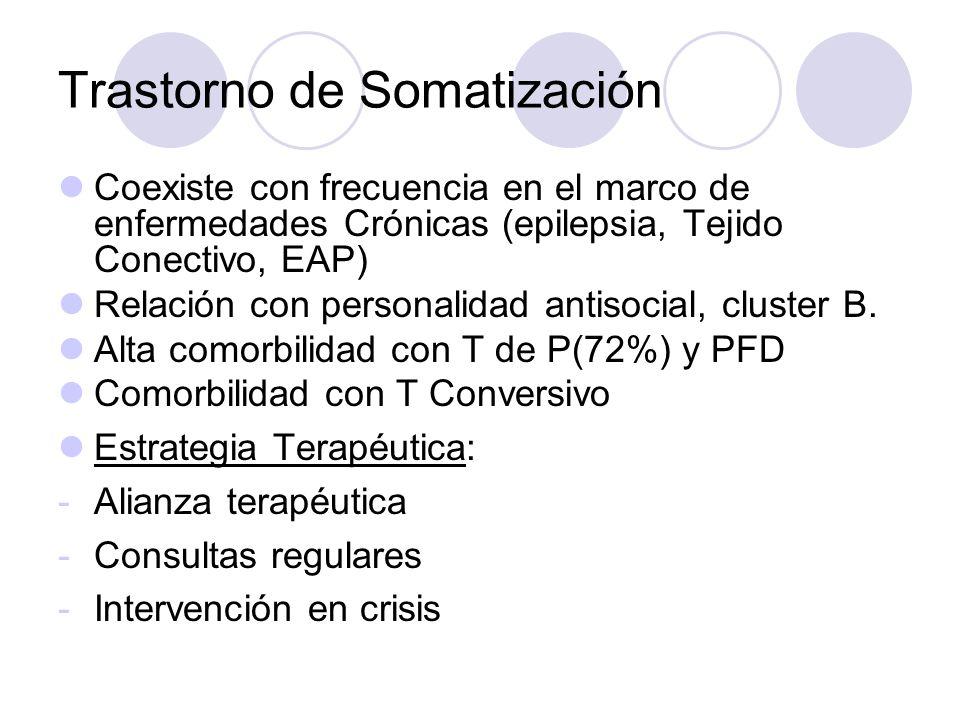 Trastorno de Somatización Coexiste con frecuencia en el marco de enfermedades Crónicas (epilepsia, Tejido Conectivo, EAP) Relación con personalidad antisocial, cluster B.