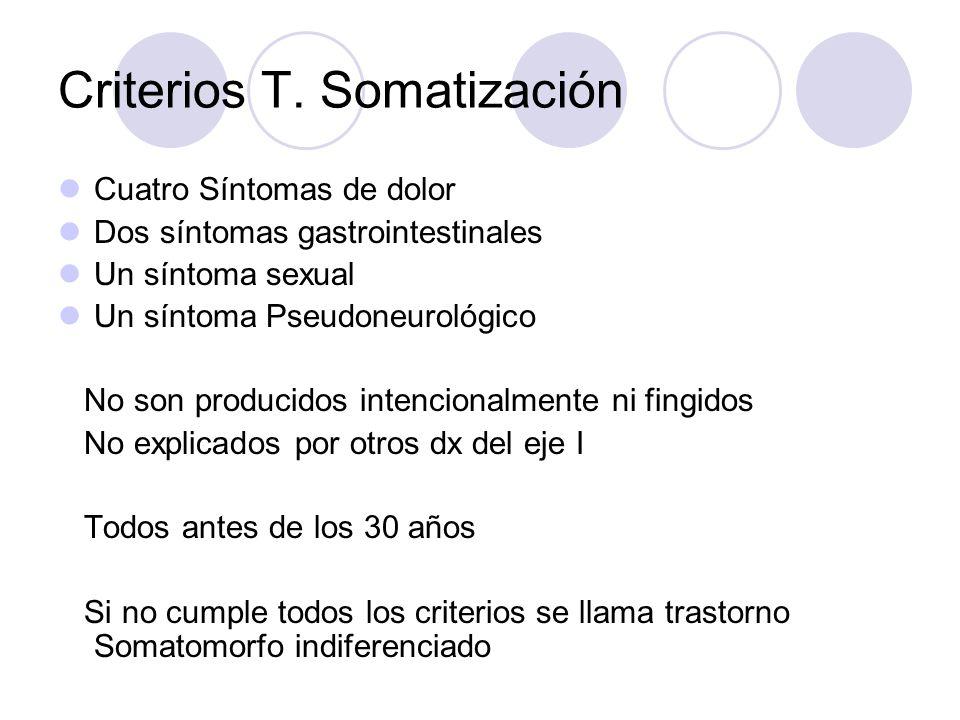 Criterios T. Somatización Cuatro Síntomas de dolor Dos síntomas gastrointestinales Un síntoma sexual Un síntoma Pseudoneurológico No son producidos in