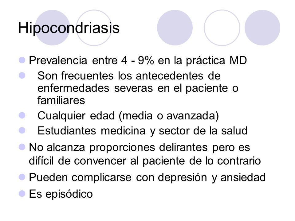 Hipocondriasis Prevalencia entre 4 - 9% en la práctica MD Son frecuentes los antecedentes de enfermedades severas en el paciente o familiares Cualquie