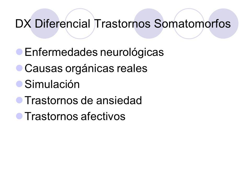 DX Diferencial Trastornos Somatomorfos Enfermedades neurológicas Causas orgánicas reales Simulación Trastornos de ansiedad Trastornos afectivos