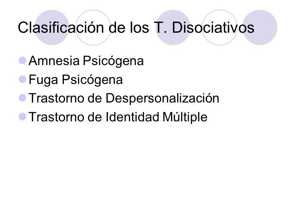 Clasificación de los T. Disociativos Amnesia Psicógena Fuga Psicógena Trastorno de Despersonalización Trastorno de Identidad Múltiple