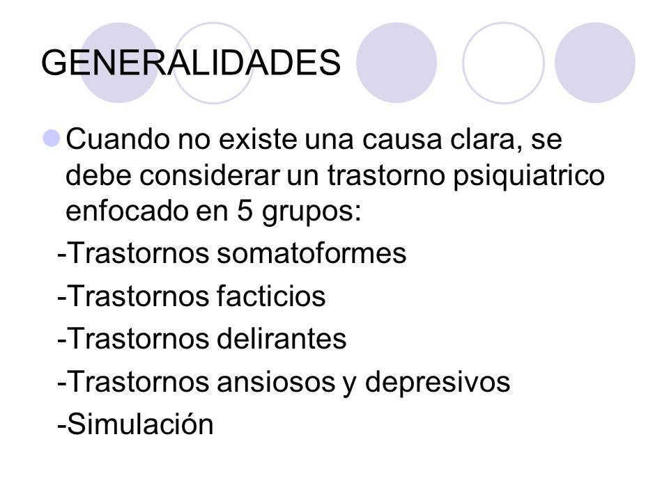 GENERALIDADES Cuando no existe una causa clara, se debe considerar un trastorno psiquiatrico enfocado en 5 grupos: -Trastornos somatoformes -Trastorno
