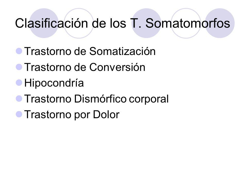 Clasificación de los T. Somatomorfos Trastorno de Somatización Trastorno de Conversión Hipocondría Trastorno Dismórfico corporal Trastorno por Dolor