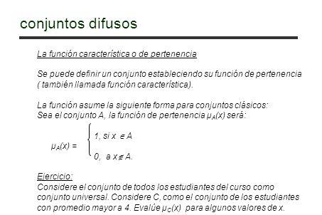La función característica o de pertenencia Se puede definir un conjunto estableciendo su función de pertenencia ( también llamada función característi