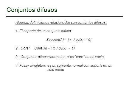 Algunas definiciones relacionadas con conjuntos difusos : 1. El soporte de un conjunto difuso: Support(A) = { x / μ A (x) > 0} 2. Core: Core(A) = { x