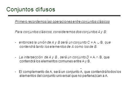 Primero recordemos las operaciones entre conjuntos clásicos Para conjuntos clásicos, consideremos dos conjuntos A y B: - entonces la unión de A y B será un conjunto C = A B, que contendrá tanto los elementos de A como los de B.