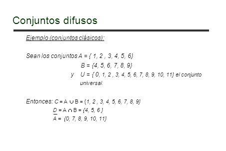 Ejemplo (conjuntos clásicos): Sean los conjuntos A = { 1, 2, 3, 4, 5, 6} B = {4, 5, 6, 7, 8, 9} y U = { 0, 1, 2, 3, 4, 5, 6, 7, 8, 9, 10, 11} el conjunto universal.