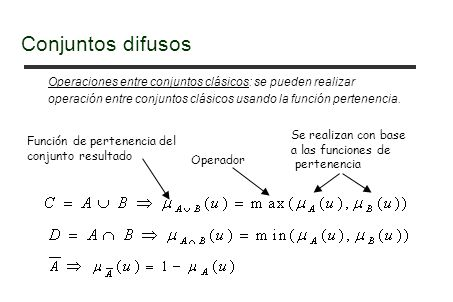 Operaciones entre conjuntos clásicos: se pueden realizar operación entre conjuntos clásicos usando la función pertenencia.