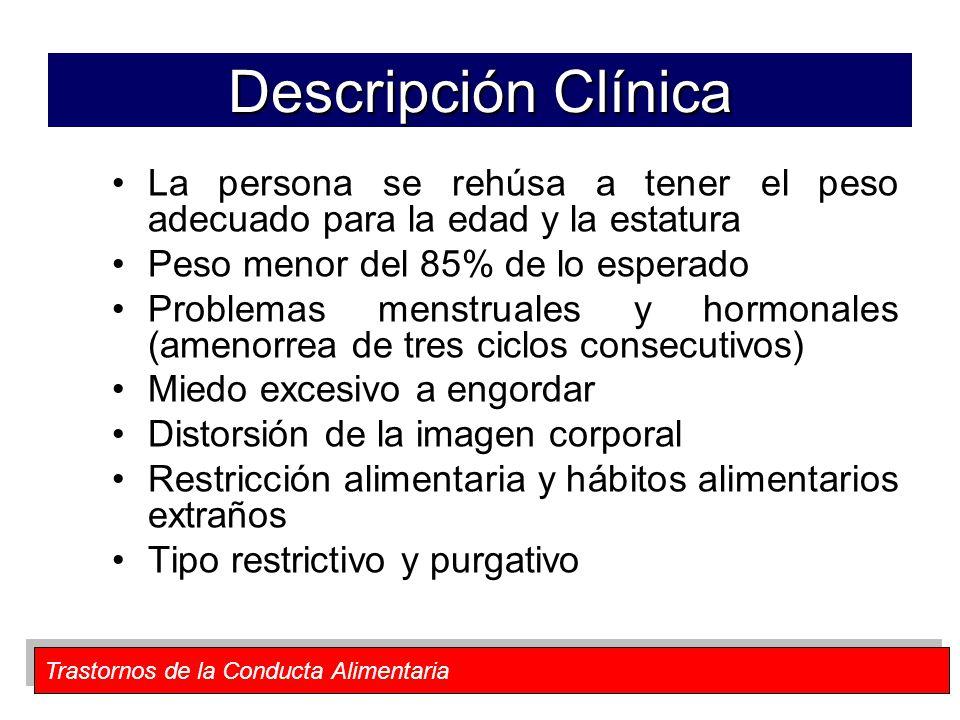 Trastornos de la Conducta Alimentaria Descripción Clínica La persona se rehúsa a tener el peso adecuado para la edad y la estatura Peso menor del 85%