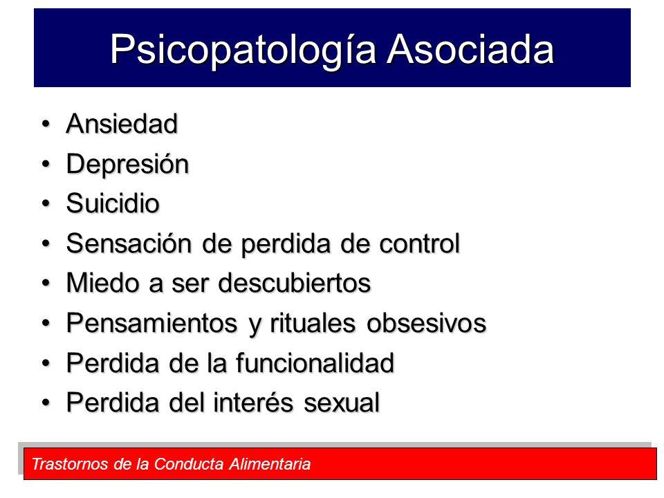 Trastornos de la Conducta Alimentaria Psicopatología Asociada AnsiedadAnsiedad DepresiónDepresión SuicidioSuicidio Sensación de perdida de controlSens