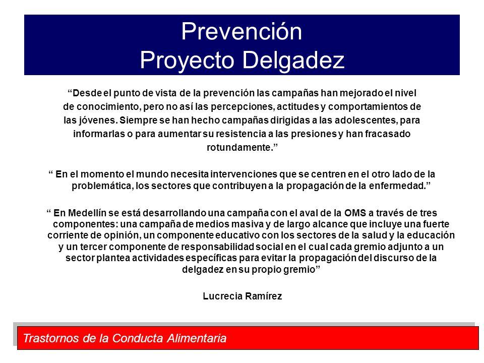 Trastornos de la Conducta Alimentaria Prevención Proyecto Delgadez Desde el punto de vista de la prevención las campañas han mejorado el nivel de cono