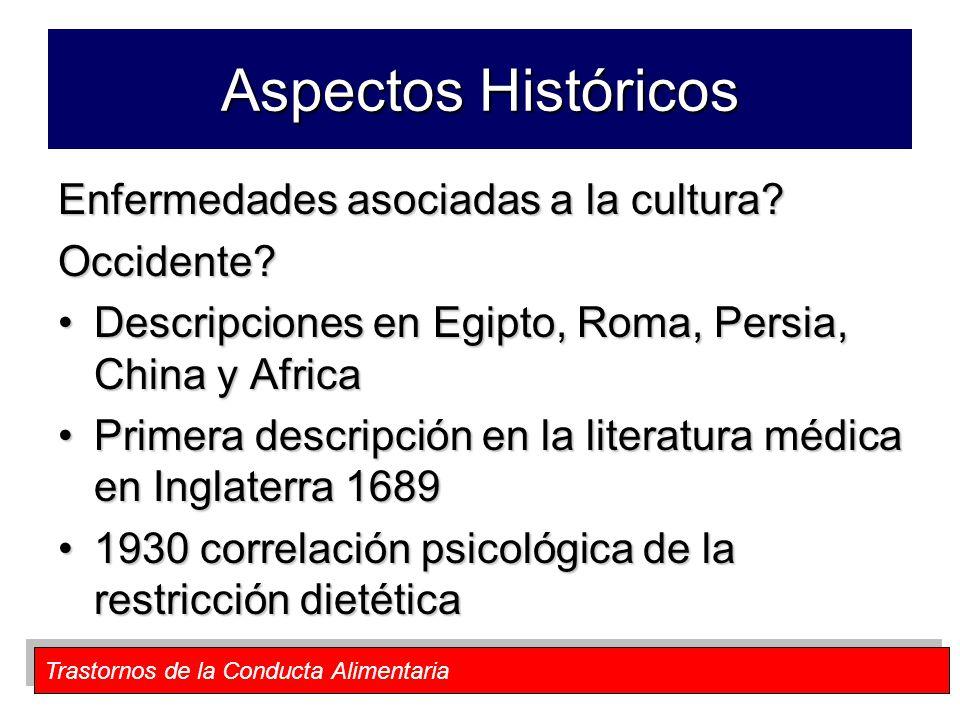 Trastornos de la Conducta Alimentaria Aspectos Históricos Enfermedades asociadas a la cultura? Occidente? Descripciones en Egipto, Roma, Persia, China
